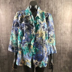 Erin Plus Size 1X Sheer Printed Button Down Blouse
